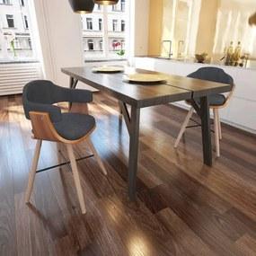 241687 vidaXL Scaune de bucătărie, 2 buc., gri închis, lemn curbat & textil