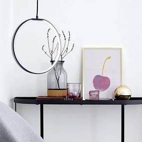 Lampa Circulara din Metal Negru cu Led - Metal Negru Diametru(35 cm)