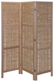 424180 Home&Styling Paravan de cameră, lemn și salcie, maro deschis