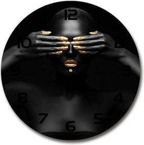 Ceas din sticlă rotund Femeia în negru