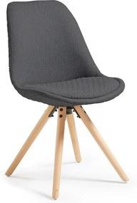 Scaun cu picioare din lemn La Forma Lars, gri închis