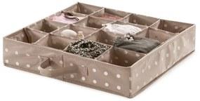 Organizator cu 16 compartimente pentru sertare, Compactor Dots, bej