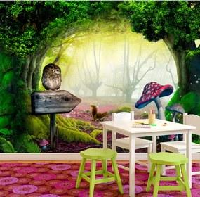 Fototapet Bimago - Owlish corner + Adeziv gratuit 300x210 cm