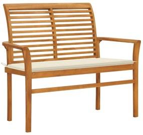 3062651 vidaXL Bancă de grădină, cu pernă crem, 112 cm, lemn masiv de tec