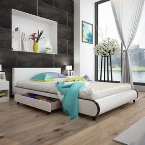 Pat 140 x 200 cm cu 2 sertare, piele artificială, alb