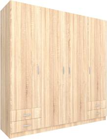 Dulap 4 Usi, Stejar Sonoma, 196 x 55 x 200 cm