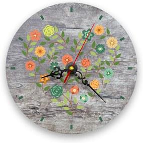 Ceas de perete - Inima din flori vintage 21 cm, lemn
