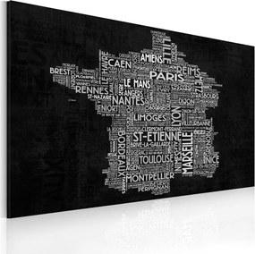 Tablou Bimago - Text map of France on the blackboard 60x40 cm