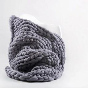 Pătură din lână merino tricotată manual Concepttual Chunky, 125 x 130 cm, gri mov