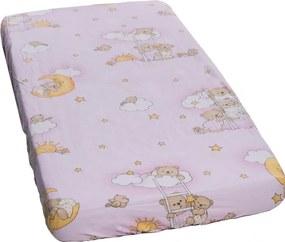 Cearceaf din bumbac cu elastic Ursuletul somnoros Roz 120x60 cm