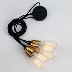 Lustră cu 5 cabluri Bulb Attack Uno Cassie, negru - auriu
