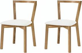 Set de 2 scaune Cee stejar/tesatura, alb/maro, 45 x 75 x 54 cm