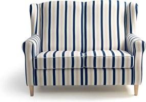 Canapea în dungi Max Winzer Lorris, albastru-alb, 139 cm