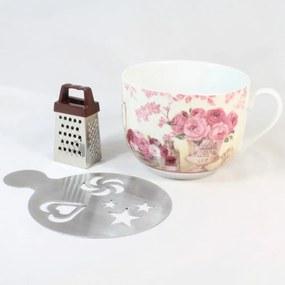 Cană din ceramică cu răzătoare și suport Dakls Pinky, 420 ml