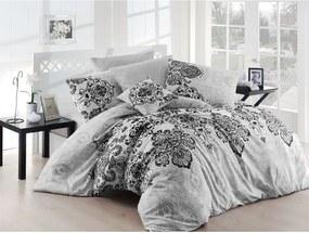 Lenjerie de pat cu cearșaf pentru pat dublu Nazenim Home Luxury Grey, 200 x 220 cm, gri