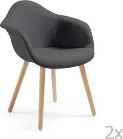 Set 2 scaune cu picioare din lemn și cotiere La Forma Kenna, gri închis