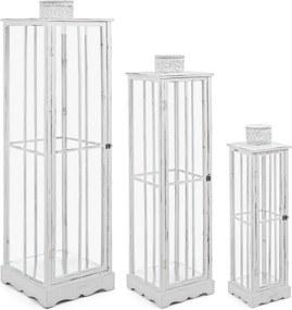 Set 3 felinare lemn metal alb antichizat Astana 24 cm x 24 cm x 90 h; 32 cm x 32 cm x 125 h; 40 cm x 40 cm x 150 h