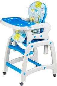 Scăunaș de luat masa pentru bebeluși 3 în 1 albastru