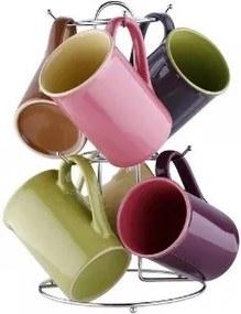 Set cani ceramica cu suport inox 7 piese BG-1807004 280ml