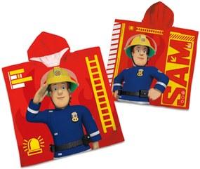 Prosop poncho copii '' Pompierul Sam'' - Rosu