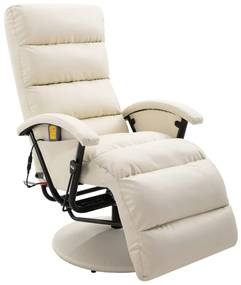 248484 vidaXL Fotoliu de masaj rabatabil pentru TV alb crem piele ecologică