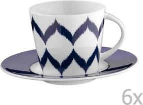 Set 6 căni din porțelan pentru ceai cu farfurioară Mertios, 200 ml