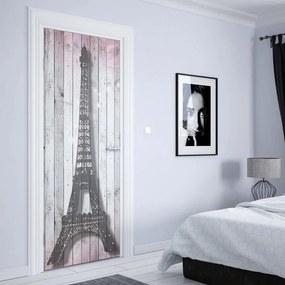 GLIX Tapet netesute pe usă - Eiffel Tower Paris Pink Roses Flowers Vintage Wood Planks