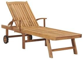 48015 vidaXL Șezlong, lemn masiv de tec