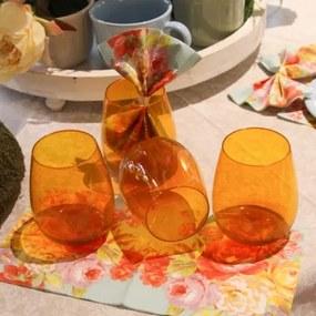 Set cu 4 pahare Colore din sticla oranj 26 cm