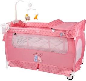 Patut pliabil Sleep n Dream 2 nivele Pink Hippo