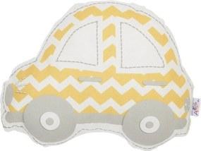 Pernă din amestec de bumbac pentru copii Apolena Pillow Toy Car, 32 x 25 cm, galben - gri