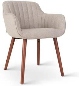 Besoa Iris, scaun tapițat, umplut cu spumă, poliester, picioare din lemn, gri