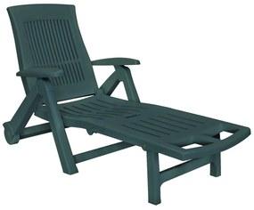 43587 vidaXL Șezlong de plajă cu suport picioare, verde, plastic