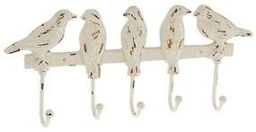 Cuier metalic Birds alb antichizat 30x4x13 cm