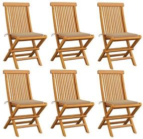 3065593 vidaXL Scaune de grădină cu perne, 6 buc., bej, lemn masiv de tec