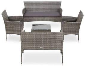 45894 vidaXL Set mobilier de grădină cu perne, 5 piese, gri, poliratan