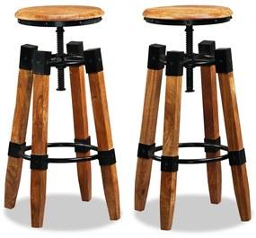 244589 vidaXL Scaune de bar, 2 buc., lemn masiv de mango