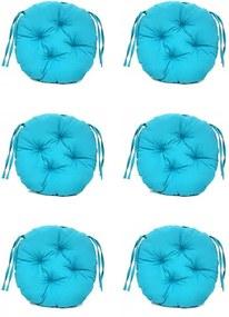 Set Perne decorative rotunde, pentru scaun de bucatarie sau terasa, diametrul 35cm, culoare albastru, 6 buc/set