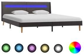 286712 vidaXL Cadru de pat cu LED-uri, gri, 140 x 200 cm, material textil