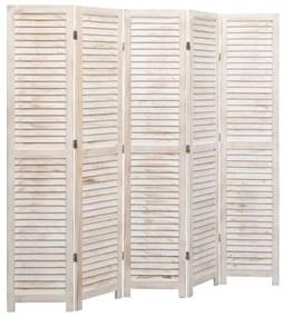 284201 vidaXL Paravan de cameră cu 5 panouri, alb, 175 x 165 cm, lemn