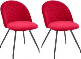 Set de 2 scaune Emma, catifea rosie