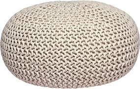 Pouf tricotat LABEL51 Knitted XL, crem