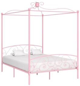 284491 vidaXL Cadru de pat cu baldachin, roz, 180 x 200 cm, metal