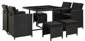 46532 vidaXL Set mobilier de exterior cu perne, 9 piese, negru, poliratan