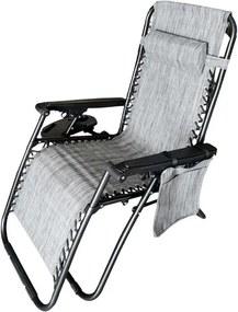 Scaun pliabil tip sezlong, ajustabil, cu tetiera, cotiere si suport lateral, pentru gradina sau terasa, culoare gri
