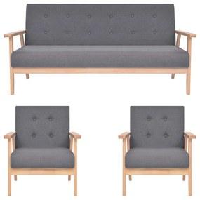 279145 vidaXL Set de canapele, 3 piese, gri închis, material textil