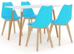 3055909 vidaXL Set de masă, 5 piese, albastru