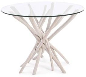 Masa rotunda Ø110 cm lemn de tec si sticla Sahel Round