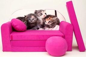 Canapea pentru copii cu pisicute - Roz H6 +