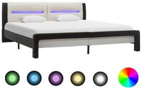 286736 vidaXL Cadru pat cu LED, negru și alb, 140 x 200 cm, piele ecologică
